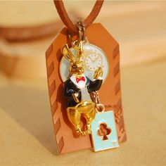 Handmade leather Alice in Wonderland rabbit cards long necklaces & pendants for women 2015 anime jewelry accessories colar♦️ B E S T Online Marketplace - SaleVenue ♦️👉🏿 http://www.salevenue.co.uk/products/handmade-leather-alice-in-wonderland-rabbit-cards-long-necklaces-pendants-for-women-2015-anime-jewelry-accessories-colar/ US $2.78