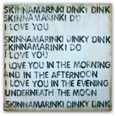 Skinnamarinki Dinky Dink  Sign  Art  Nursery by PamelaJoyceDesigns (etsy), $119.00