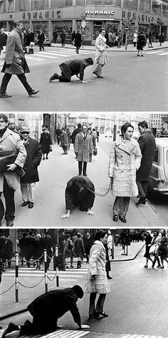 VALIE EXPORT walks Peter Weibel on a leash in the performance Aus der Mappe der Hundigkeit (From the Portfolio of Doggishness), Vienna, 1968 Appropriation Art, Graffiti, Fluxus, Action Painting, Feminist Art, Expo, Land Art, Installation Art, Art Day