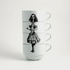 Alice in Wonderland set of 4 Coffee Cups Porcelain Drink Me Whimsical Literature English Stacking on Etsy, $45.35
