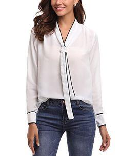 80cf1405674 Abollria Womens Chiffon Long Sleeve Tops Work Casual Blouse Shirt White  Business Outfit Frau