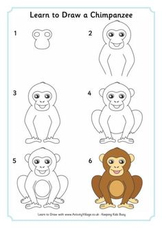 How To Draw Easy Animals Step By Step Image Guide - Art Worksheets - Easy Animal Drawings, Art Drawings For Kids, Drawing For Kids, Easy Drawings, Art For Kids, Monkey Drawing Easy, Animals Drawing Images, Drawing Lessons, Drawing Skills