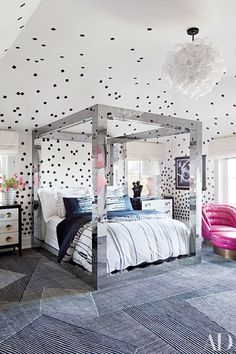 In a child's bedroom, the designer added a playful wall covering | archdigest.com