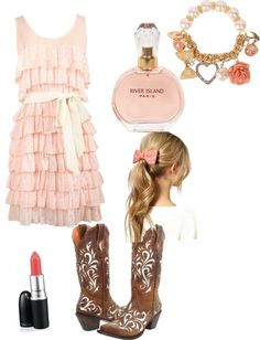 """country girl"" by aconrad36 ❤ liked on Polyvore Would have the dress and stuff like that in blue the lipstick could stay the pink color"