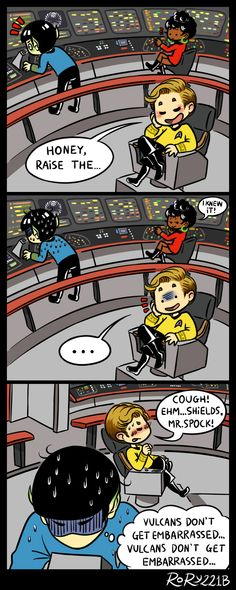 ST - Honey, raise the shields by on DeviantArt Star Wars, Star Trek Tos, Spock And Kirk, Starship Enterprise, Star Trek Ships, Stargate, Yuri, Nerdy, Humor