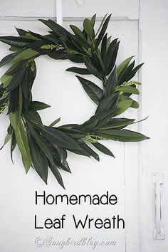 Make a homemade leaf wreath in four steps. For instructions go to songbirdblog.com