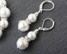 Bridal white Pearl earrings, B