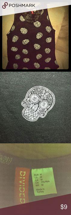 H&M Divided sugar skull burn out tank top Very comfortable tank top with cool sugar skulls Divided Tops Tank Tops