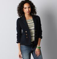 """Petite Ivy Patch Pocket Sweater Jacket - This impossibly preppy-chic sweater jacket—woven in lightweight cotton—gets an """"A"""" in our book. Shawl collar. Long sleeves. Notch lapel. Double-breasted styling with brass-tone buttons. Button cuffs. Patch pockets. Decorative seam details. 22"""" long."""