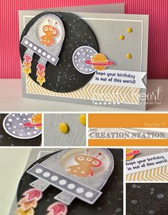 Pretty Heart, Papercraft by Jennifer Frost: Blast Off! - Creation Station Blog Hop #2
