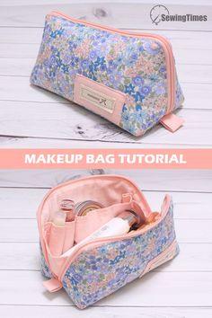 Sewing Makeup Bag, Makeup Bag Pattern, Makeup Pouch, Makeup Bag Tutorials, Sewing Tutorials, Tutorial Sewing, Diy Makeup Bag Tutorial, Diy Bags Patterns, Purse Patterns
