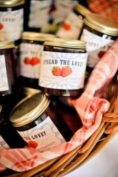 spread the love jam favors with cute labels