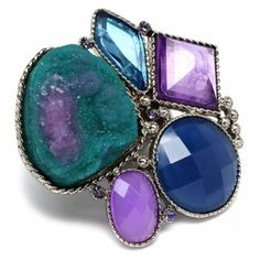 Vanna's Blue & Purple Mixed Stone Cluster Style Ring ($27) ❤ liked on Polyvore featuring jewelry, rings, jeweleries, jewels, stone jewelry, purple stone rings, fantasy jewelry box rings, cocktail rings and adjustable rings