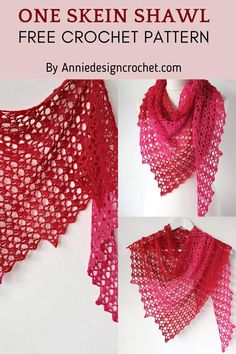 One Skein Crochet, Crochet Shawl Free, Crochet Shawls And Wraps, Crochet Scarves, Crochet Summer, Crochet Basics, Crochet For Beginners, Shawl Patterns, Crochet Patterns