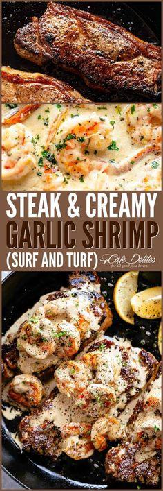 Steak With Creamy Garlic Shrimp - Cook, Taste, Eat Healthy Diet Recipes, Meat Recipes, Seafood Recipes, Cooking Recipes, Garlic Recipes, Cooking Tips, Healthy Food, I Love Food, Good Food