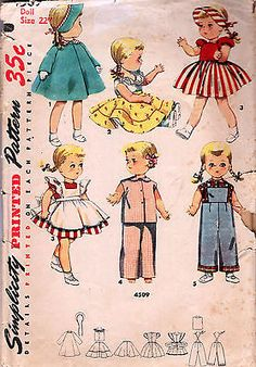 4509-VINTAGE-1953-SAUCY-WALKER-DOLL-CLOTHES-Pattern-for-22-DOLLS-COMPLETE-Simp