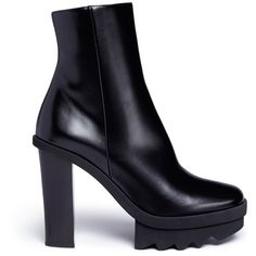 Stella McCartney 'Felik' alter calf platform boots (2870 TND) ❤ liked on Polyvore featuring shoes, boots, black, stella mccartney, leather upper boots, black platform boots, faux-fur boots and wood heel boots
