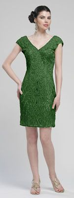 Forest Green Embroidered & Sequin V Neck Cap Sleeve Cocktail Dress