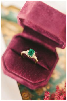Emerald engagement ring by Trumpet & Horn. Image by Elizabeth Fogarty.