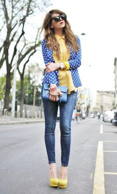 I'm SO copying this!!! Polka dots & mustard (two of my favs together)!!