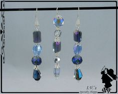 Blue/Purple Crystal Pendant and Earring Set by IVsSpecialtyShoppe