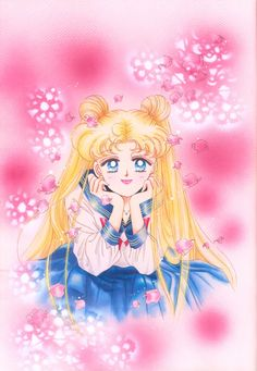 "美少女戦士セーラームーン原画集 Bishoujo Senshi Sailor Moon Original Picture Collection Vol.3 - ""I drew this picture on pink paper. I hope the color comes out well. In the Korean version of the comic, pink is really turning out well. For the flowers in the background, I put lace cloth doilies on top of the paper, and forcibly sprayed white color spray on it."" by Naoko Takeuchi - Cover of KC volume 8"