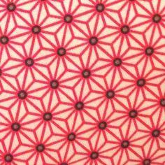 Tissu à motif japonais asanoha etoiles blanc/rouge 100% coton