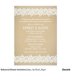 Shop Lace and Kraft Rustic Bridal Shower Invitation created by Plush_Paper. Personalize it with photos & text or purchase as is! Country Wedding Invitations, Rehearsal Dinner Invitations, Wedding Rehearsal, Rehearsal Dinners, Bridal Shower Invitations, Custom Invitations, Wedding Vows, Invites, Lace Weddings