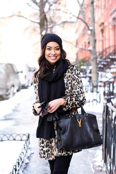 Little Leopard Coat - Topshop coat  // Autumn Cashmere sweater 7 For All Mankind jeans // Stuart Weitzman boots Beanie // Scarf // Gloves // YSL bag Wednesday, February 18, 2015