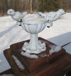 "Vintage Cast Iron Miniature Bird Bath 5"" Shabby Chic"