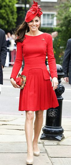 Kate Middleton's Most Memorable Outfits Ever!  June 2, 2012  To celebrate the Queen's Diamond Jubilee and board a boat to lead 1,000 vessels down the River Thames, the Duchess chose a bright red look by Alexander McQueen (from the label's pre-fall 2011 collection), and accessorized with a matching hat, clutch, plaid scarf, Kiki McDonough citrine drop earrings, and her favorite L.K. Bennett platform nude heels.