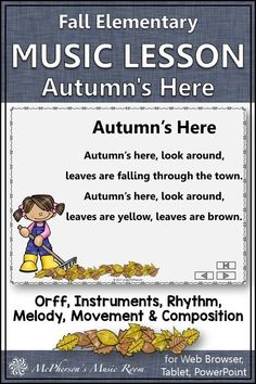FUN elementary fall music lesson! Your students will LOVE the Orff arrangement and engaging activities for instruments, rhythm, melody, movement and composition. An excellent Orff and Kodaly lesson for your fall music lesson plans! Elementary Music Lessons, Music Lesson Plans, Teaching Music, Music Education, Instruments, Composition, Students, Activities, Fall