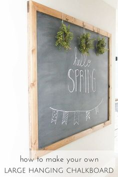 DIY Large Hanging Chalkboard - totally want this for my inspiration board.