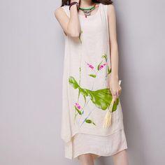 Summer dress New Fashion sleeveless women dress casual cotton Linen dress lotus Printed o-neck plus size vestidos de festa