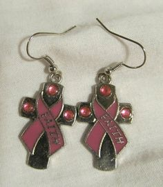 Earrings  Handmade  Charming Style  Pink Ribbon by CraftyChic90, $3.50
