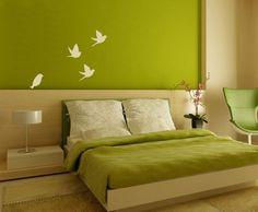 Bird Murals Painting in Green Master Bedroom Ideas - Beautiful Wall Murals Ideas for Elegant Bedroom - Wallpaper Murals