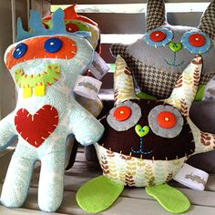 Make monsters out of scrap material and spare buttons.