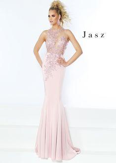 568e0f98e3 Jasz Couture 6415 Gown with Sheer Applique Top