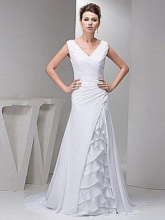 Sleeveless V Neck Pleated Chiffon Wedding Dress with Ruffle Decor - USD $157.50