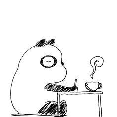【一日一大熊猫】2017.2.26 僕の休日は一杯のコーヒーで始まる。 と書けばなんかカッコいいけど、朝食を摂ると なんか緩くなって制作ができないんです。 面倒でもダイエットでもないのだけど 制作がひと段落してから食事するよ。 #パンダ