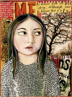 Beautiful Teesha Moore journal page. Portrait, mixed media collage Love the tree in the background love the woman's face love the writing on the woman's body Mixed Media Journal, Mixed Media Collage, Collage Art, Moleskine, Art Journal Pages, Art Journals, Classe D'art, Creative Journal, Art Journal Inspiration