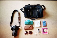 What's in my bag handbag leather camera spikes