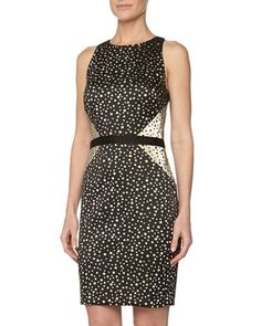 Polka Dot Metallic Cocktail Dress by Nicole Miller at Neiman Marcus Last Call.