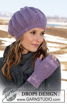 """Purple Rhapsody - DROPS hat and fingerless gloves with lace pattern in """"MERINO EXTRA FINE"""". - Free pattern by DROPS Design"""