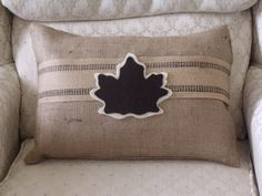 Burlap pillow; upholstery tape, and felt maple leaf accent. Maple Leaf template from purlbee.com