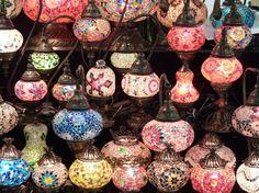 The magical atmosphere of the Lamp shops in the Grand Bazaar (Kapalı Çarşısı) Istanbul Bohemian Gypsy, Gypsy Style, Cool Lamps, Grand Bazaar, Beautiful Lights, All The Colors, Christmas Bulbs, Mosaic, Shabby Chic