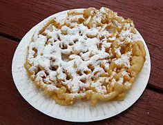 Funnel Cake Recipe:  3 eggs   1/4 cup sugar   2 cups milk   3 2/3 cups flour   1/2 teaspoon salt   2 teaspoons baking powder   vegetable oil, for frying