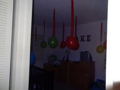 So exciting to do stuff like this for their birthday morning. Hung tons of balloons from streamers all over his room and hung them from the ceiling as soon as he fell asleep.