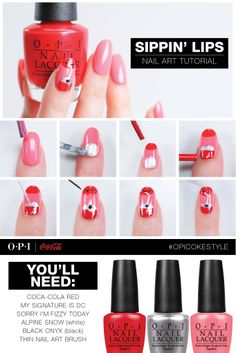 Sippin' Lips Nail Art Tutorial using Coca-Cola by OPI shades. #OPICokeStyle