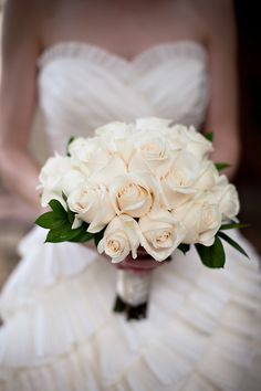Bouquets fit for a Fall/winter wedding are truly gorgeous. You can use the flowe… Bouquets fit for a Fall/winter wedding are truly gorgeous. You can use the flowers in your bouquet to complement your wintery decor and seasonal surroundings. White Rose Bouquet, White Roses Wedding, Rose Bridal Bouquet, Diy Wedding Bouquet, White Wedding Bouquets, Bride Bouquets, Bridal Flowers, Garden Rose Bouquet, Flower Bouquets